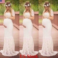 US Women Maxi Dresses Slit Pregnant Maternity Gown Photography Props Photo Shoot