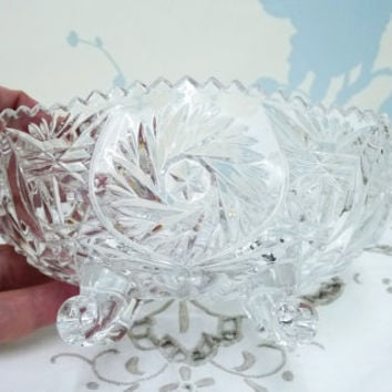 Small Pressed Glass Bowl, Depression Glass Bowl, Sugar Bowl, Saw Tooth Rim, Pinwheel and Fan Pattern, Vintage Wedding, Homewares
