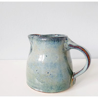 Blue pottery pitcher ceramic creamer - rustic blues, green, brown glaze