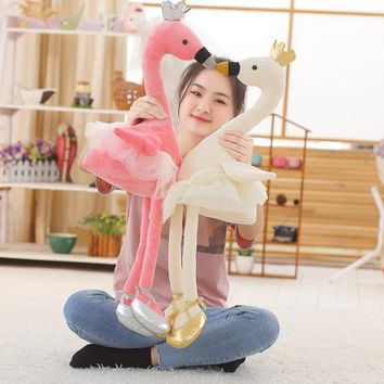 1PC 35CM swan plush toys cute flamingo doll stuffed soft animal doll ballet swan with crown baby kids appease toy gift for girl