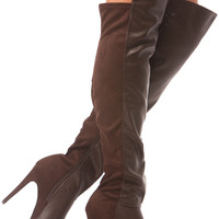 Brown Faux Leather Thigh High Platform Boots