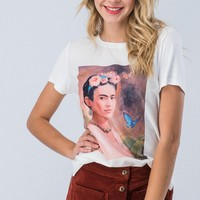 Frida Kahlo Print Short Sleeve Top