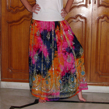Gypsy Skirt: Tie Dye Maxi Skirt, Hippie Skirt, Indian Sequin Skirt, Long Bohemian Skirt, Flowy Indian Boho Skirt