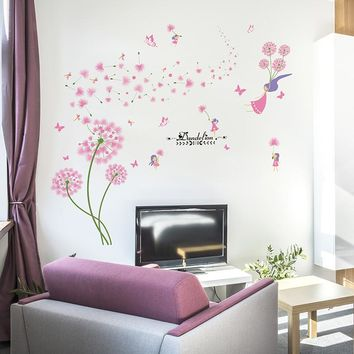 Pink Dandelion Wall Stickers Flower Angel Girl Flores Plant Wall Decals For Living Room Kids Room Home Decoration Accessories