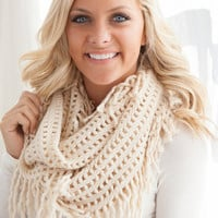 Lattice Tassel Infinity Scarf - Ivory