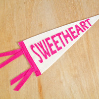 "Sweetheart, Felt Banner, Pink, Kids room decor, Baby room, Nursery, Small Pennant, 5x12"" girls room, baby girl"