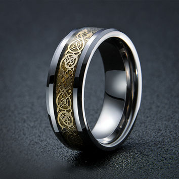 real TUNGSTEN Carbide ring fine jewelry How to Train Your Dragon fashion dragon ring for men JZ069