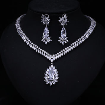 2016 new Luxury Bridal Vintage African Clear White Cubic Zircon Crystal  Jewelry Set For Brides