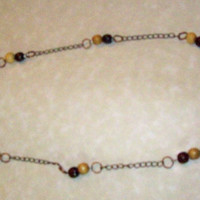 Necklace Brass Chain with Wood Beads Earthy Colors