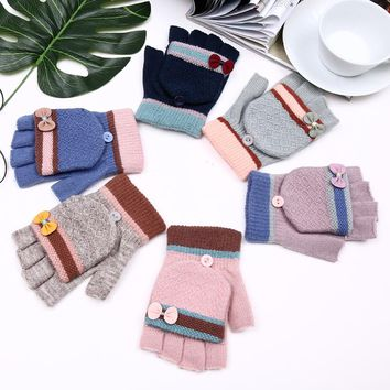 2017 New Style Fashion Cute Bow GlovesWinter Women Fingerless Gloves Multifunctional Cute Warm Patchwork Mittens Gifts