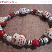 ON SALE Brown Ceramic Owl Bracelet with Glass Pearls, Dyed Quartzite, and Silver-Plated Accents