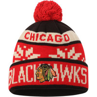Chicago Blackhawks Reebok Face-Off Snowflake Cuffed Knit Hat with Pom - Black