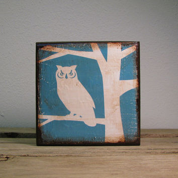 Owl in Tree Silhouette Wood Art Block Wall Hanging--MatchBlox--1766