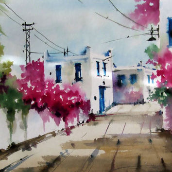 Original Watercolor Painting, Cityscape, Bodrum Turkey, Original Painting