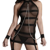 sexy lingerie hot black bandages splice perspective Gauze Handcuffs inmates SM cosplay erotic lingerie sexy costumes
