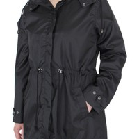 Capelli New York Ladies Solid Rain Slicker with Cinched Waist Jet Black Medium