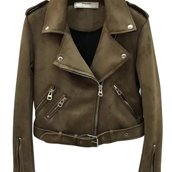 Army Green Faux Suede Lapel Biker Jacket