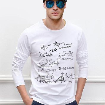 PEAP78W new arrival funny Teen Math formula men long sleeve t shirt 2017 new autumn 100% cotton high quality hipster hip hop top tees