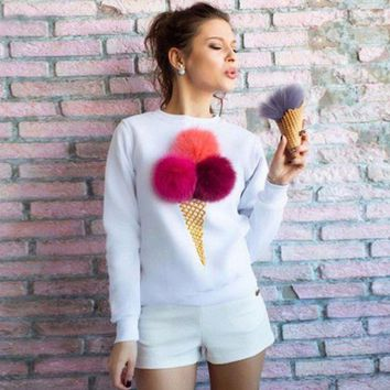 CREYONPR Sweet 3D Ice Cream Plush Long Sleeve Sweater Pullovers