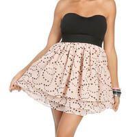 Heart Print Strapless Dress | Shop Dresses at Wet Seal