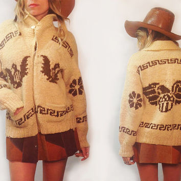 Vintage 1950s 1960s Southwestern Thunderbird Cowichan Curling Shawl Collar Sweater || Native Indian 50s 60s Ladies Mens Size Small Medium