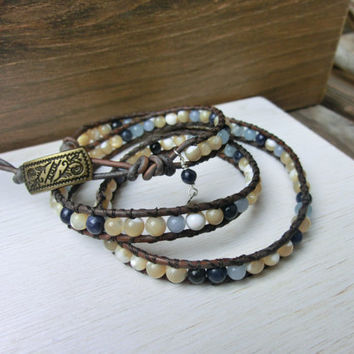 Sandy Sky Handmade Leather Wrap Japanese Powerstone Bracelet Jewelry by Off on a Whim made in Japan - Power and Beauty