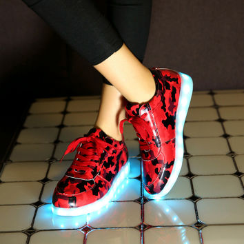 Colorful Bright Creative Winter Stylish Lightning Shoes Round-toe High-top Flats LED Noctilucent Lights [4964956804]