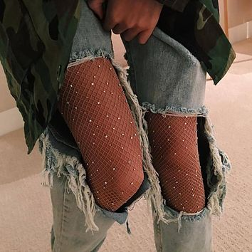 Women Sexy Crystal Rhinestones Fishnet Tights Female Slim Sexy Stockings Charm Pantyhose Club Party Hosiery