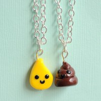 Silly Handmade Bathroom Best Friend Necklaces - Available in Pee/Poop & Toilet Paper/Poop