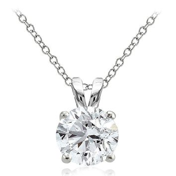 925 Sterling Silver 4ct Cubic Zirconia 10mm Round Solitaire Necklace