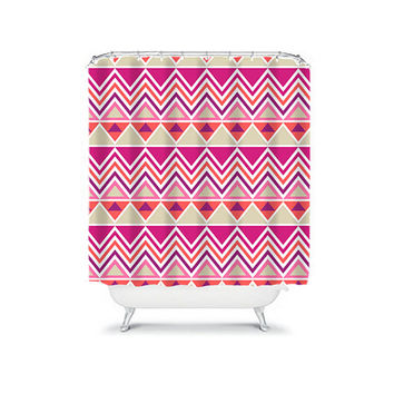 Shower Curtain Aztec Tribal Chevron Colorful Purple Orange Pink Geometric Pattern Bathroom Bath Polyester Made in the USA