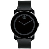 Movado Bold Large Black Colorado Leather Watch