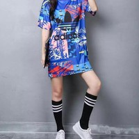 """Adidas""Fashion Loose Casual Cute Cartoon Letter Print Multicolor Stripe Short Sleeve T-shirt Dress"