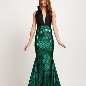 Halter Deep V-Neck Spliced Mermaid Maxi Dress