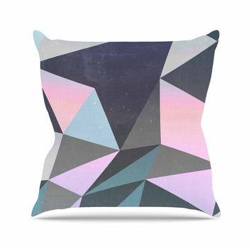 "Cafelab ""Sunrise Geometry"" Multicolor Blue Digital Outdoor Throw Pillow"