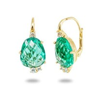 Caribbean Green CZ French Clasp Gold Earrings |