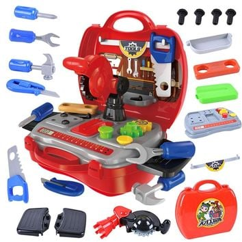 19 pcs/Set Simulation Engineer Builde Role Play parent-child interaction Toy Tool box screw hammer Repair Tool Kids Boys Gift
