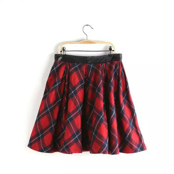 Korean Summer Women's Fashion High Rise Classics Plaid Skirt [4920263940]