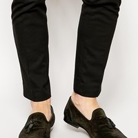 ASOS Tassel Loafers in Suede - Black suede