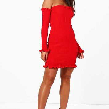 Rebecca Knitted Rib Ruffle Detail Mini Dress | Boohoo