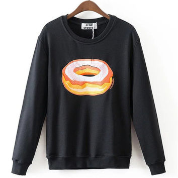 New Arrival Women Top Winter Hoodies Fruit Banana Donut Print Full Sleeve Fashion Style Casual Embroidery Sweatshirts 71947 SM6
