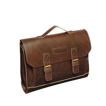 PU Leather Vintage Retro Business Work Men Briefcase Messenger Courier Satchel Bag Laptop Handbag