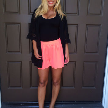 Neon Coral Scallop Shorts