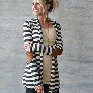 Women's Casual Long-sleeved Arm Patches Striped Cotton Blend Cardigan Jacket 09WG