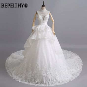 Luxury High Neck Cathedral Train Lace Wedding Dresses Pricess Custom Made Cheap Bridal Gown Made In China Vestido De Novias 2015