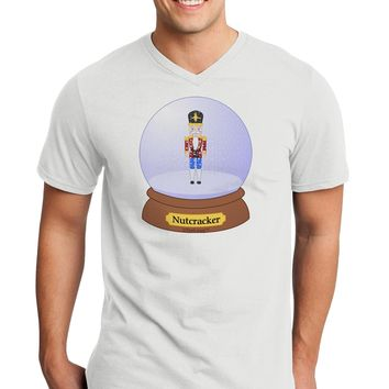 Nutcracker Snow Globe - Red Gold Black Adult V-Neck T-shirt by TooLoud