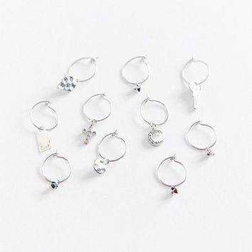 Delicate Charm Hoop Earring   Urban Outfitters