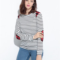 Striped Long Sleeve T-Shirt With Elbow Patch