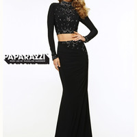 Two Piece High Neck With Long Sleeves Paparazzi Prom Dress By Mori Lee 970720
