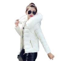 TYJTJY 2017 Newest Parkas For Women Winter Coats Faux Fur Collar Hooded Cotton Slim Warm Jacket Womens Winter Jackets And Coats